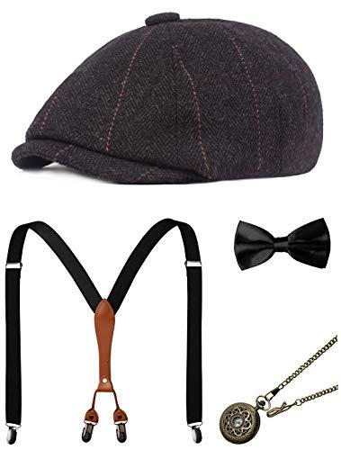 Zivyes Accessori da Uomo Anni '20 Gatsby Gangster Costume Set Accessori Manhattan Fedora Cappello Bretelle Papillon Orologio da Tasca - - Taglia Unica