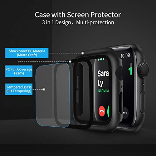 Deilin 2 Packs Hard PC Case Compatible with Apple Watch Series 5 Series 4 44mm Buit in 9H Tempered Glass Screen Protector, Slim Bumper Cover Overall Protective Scratch Resistant for iwatch Series 5/4