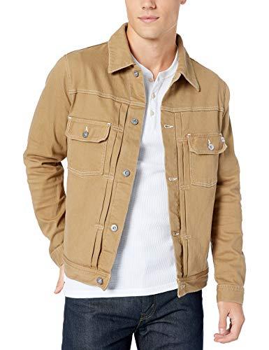 AG Adriano Goldschmied Men's Omaha 2 Pocket Denim Jacket, 1 Year Porter Tan, X-Large