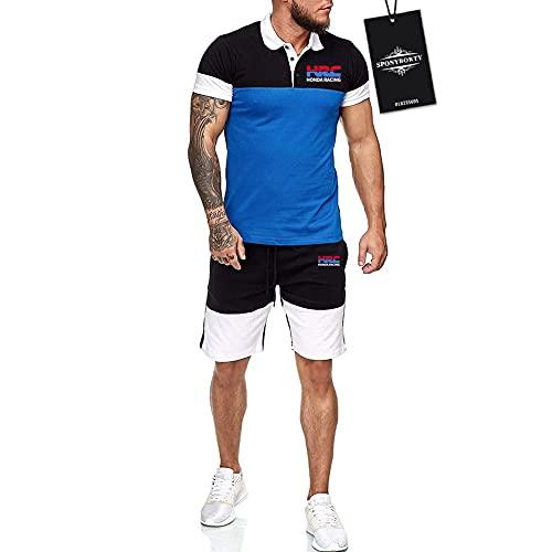 MQJUNZE Hombres Solapa Camiseta Bermudas Chandal Conjunto por Ho.n-da.s H.R.C Algodón Dos Piezas Corto Manga Tee Pantalones Ropa Deportiva Fútbol/Azul/XXL