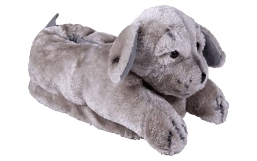 Happy Feet Slippers Gray Puppy Animal Slippers for Adults and Kids, Cozy and Comfortable, As Seen on Shark Tank (Medium)