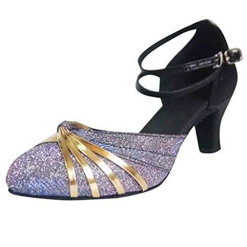 Sandalias de Baile de Salsa Latinos Mujeres Tacón Alto/Medio Hebilla Calzado de Danza Playa Zapatillas y Chanclas para Mujeres Zapatos Vestir de Fiesta riou