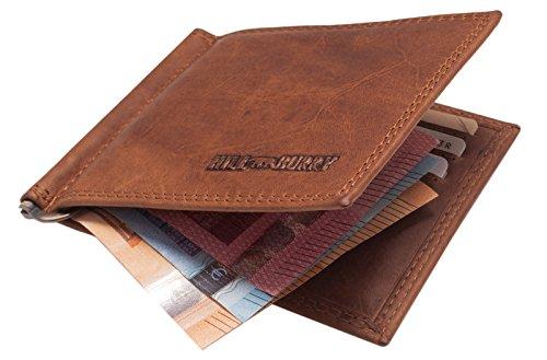Hill Burry Leder DollarClip   Kreditkartenetui mit Geldklammer - Slim Wallet   Geldbörse mit Münzfach aus echtem Leder - RFID (Braun)