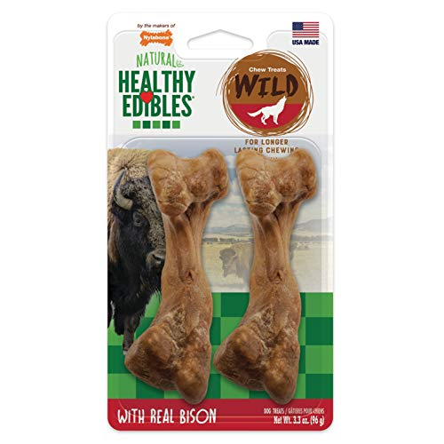 Nylabone Healthy Edibles WILD Natural Long Lasting Bison Flavor Dog Chew Treats 2 Count Medium - Up to 35 lbs.