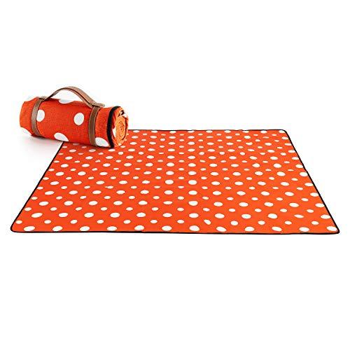 X-Labor Outdoor Picknick Decke Fleece 200x200 cm XXL mit wasserdichter Unterseite Punkte Rot