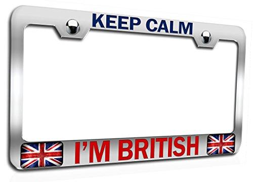 Makoroni - Keep Calm I'm British British England Ch Steel Auto SUV License Plate Frame, License Tag Holder