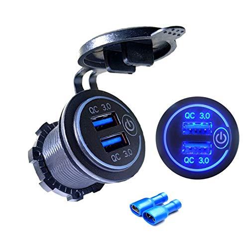 Yuwe Quick Charge 3.0 USB Cargador de Coche 12V / 24V 36W Dual QC3.0 USB Cargador rápido Toma de Corriente con Interruptor táctil para Marina, Barco, Motocicleta, camión, Coche
