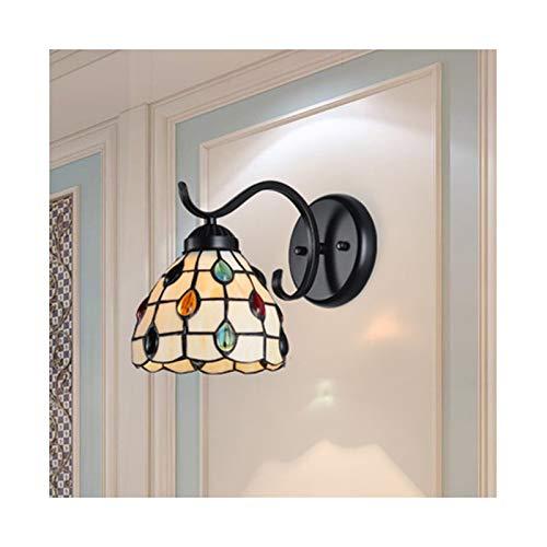 6-Zoll-Wandleuchte, Tiffany-Stil Phoenix Tail Bead Pattern Wandleuchte Handgefertigte Glasmalerei Lampenschirm, Badezimmerspiegel Scheinwerfer Nachttisch Wandleuchten, 110-240V