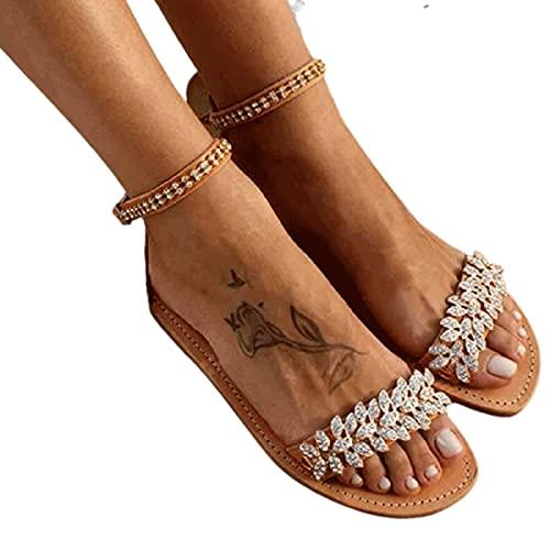JJZZ Sandalias Planas para Mujer Sandalias de Playa de Rhinestone de Verano Sandalias Abiertas para Mujer Cinturón Desnudo Zapatos Bohemios, adecuados para Solas de Vacaciones de Vacaciones,Marrón,38