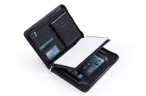 Compact Deluxe Leather Padfolio Case, Fits iPad Mini and Junior Legal Paper