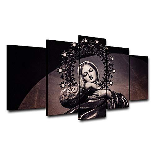 Lyqyzw Pintura DE LA Lona NIÑOS S DECORACIÓN DE LA Sala 5 Panel Misa Corona Virgen MARÍA Santa Virgen Iglesia Capilla DE IMPRESIÓN Modular Pictures Poster C