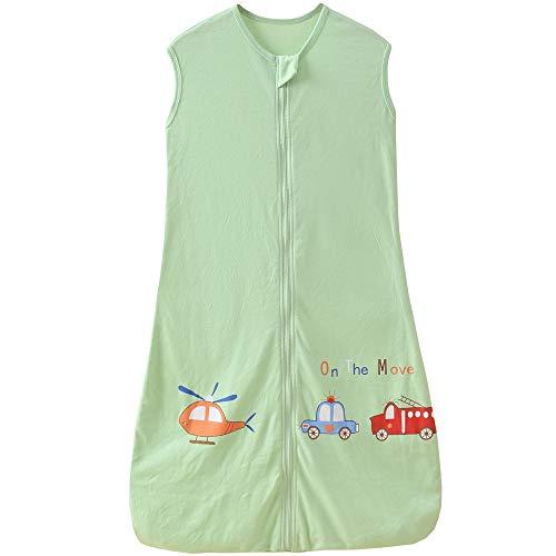 Schlafsack Baby Sommer dünner mädchen Junge Frühling neugeboren Baumwolle Schlafanzug - 0.5 tog. (110CM (18-36 Monate), Grün Flugzeug Feuerwehrauto)