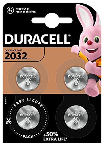 Duracell Specialty 2032 Lithium Coin Battery 3V, Pack Of 4, With Baby Secure Technology And Suitable...