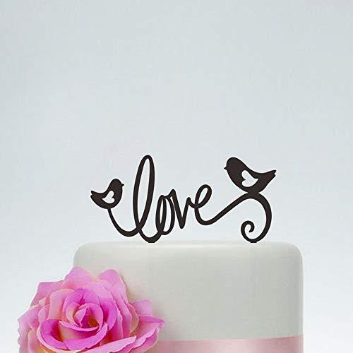 Yoin liefde en twee vogels met hart wieden taart topper, gepersonaliseerde taart topper voor verjaardag Valentijnsdag, unieke bruiloft Decor