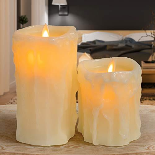 GIGALUMI Halloween Kerzen 2er Set LED-Kerzen mit Wachstropfen Flammenlose Kerzen Flackerlicht für Herbstdeko Weihnachten Party
