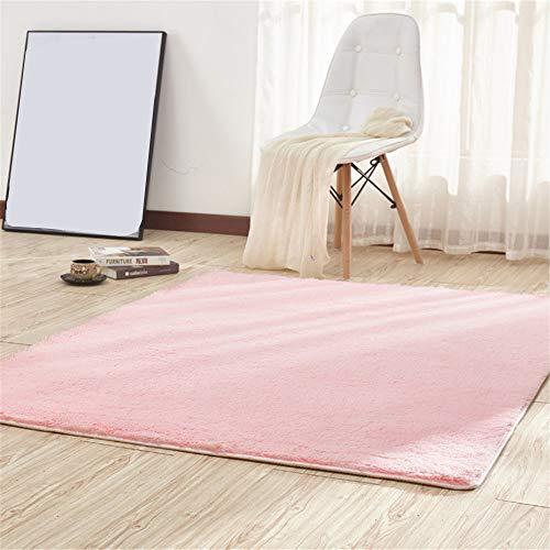 CAMAL Alfombras, Cuadrado Lavable Material de Lana de Seda Artificial Alfombra Decorativo Sala de Estar y Dormitorio (120_x_120_cm, Rosa)