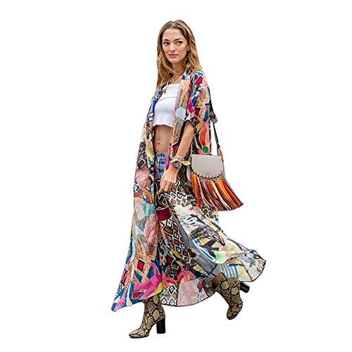 Lazz1on Damen Strandkleid Kimono Cardigan Pareos Maxi Lang Sommer Bikini Cover up Boho Strickjacke Bluse Beachwear