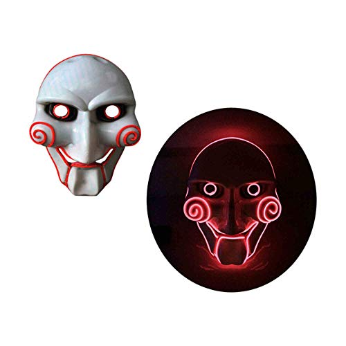 grau.zone Halloween Leuchtmaske Jigsaw leuchtende Gesichtsmaske Horror Karneval Fasching