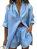 MINI Boutique Mujer Casual Trainingsanzug Conjunto Conjuntos Langarmhemd und lose hoch taillierte Mini Shorts Set 2 Stück