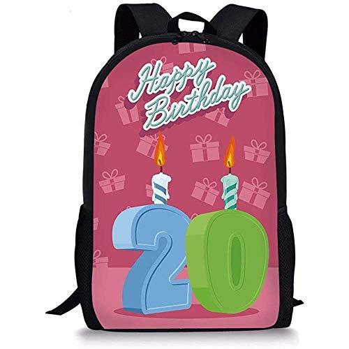 Hui-Shop Mochilas Escolares Decoraciones para el 20 ° cumpleaños, Letras temáticas de la Fiesta de cumpleaños sobre Fondo Rosa, Verde Helecho y Azul bebé para niños niñas