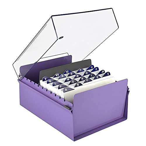 Acrimet 5 x 8 korthållare organiserare metallbas slitstark (AZ-index-kort och delare ingår) (lila färg med kristallplastlock)