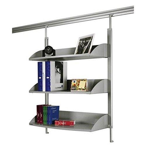 Legamaster 7-325200 Bücherregal für Legaline Dynamic Wandschienensystem, 3 verstellbare Böden, eloxiertes Aluminium