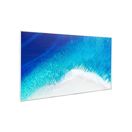Klarstein Wonderwall Air Art - Calefactor infrarrojo, 600 W, Superficie de diseño, Infrarrojos de cristal de carbono, IR ComfortHeat, Sin ruido, Ideal alérgicos, Termostato, 60 x 101 cm, Playa