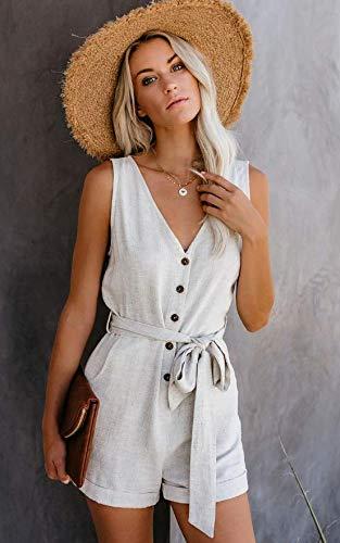 CNFIO Monos Cortos Mujer Verano Vestir Mujer Elegante Petos Mujer Verano Trabajos Pantalones Cortos A-Blanco XXL