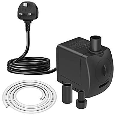 Knifel Submersible Pump 550L/H 9.5W Dry Burning Protection with Ultra Quiet Desin 1.2m High Lift for Fountains, Hydroponics, Ponds, Aquariums & More………