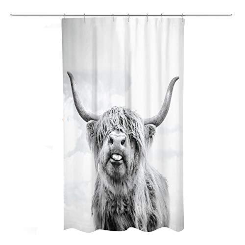 Coxila Duschvorhang Highland Cow Bull Western Wildlife Tier Portrait Badezimmer Vorhang Polyestergewebe Wasserdicht 91,4 x 182,9 cm