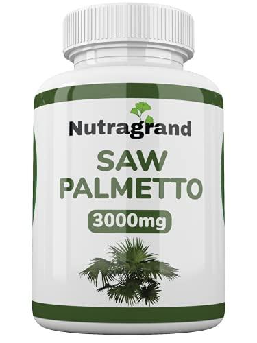 Saw Palmetto 3000 mg 180 tabletas veganas Suministro de 6 meses de un enorme extracto del Reino Unido 20: 1 producido solo un día