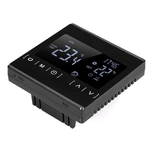 tellaLuna Controlador de Temperatura Pantalla de Contacto Termostato Inteligente Agua Caldera EléCtrica CalefaccióN AC85-240V Termostato MH1822S Negro