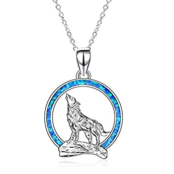 YFN Wolf Pendant Necklace 925 Sterling Silver with Opal Moon Necklace 18  Birthday Day Jewelry for Girlfriend Wife