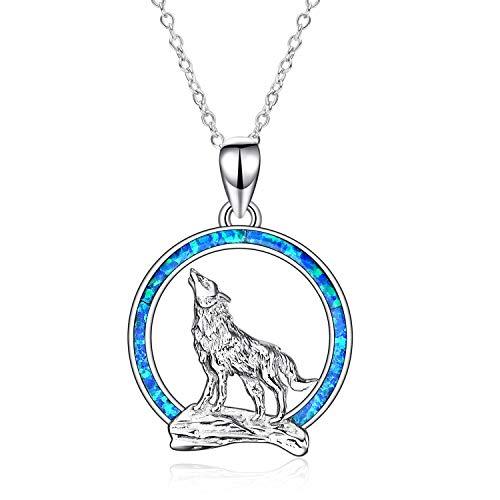 """YFN Collar con Colgante de Lobo de Plata de ley 925 con Collar de Luna de ópalo 18""""Joyería del día de Cumpleaños para Novia y Esposa"""