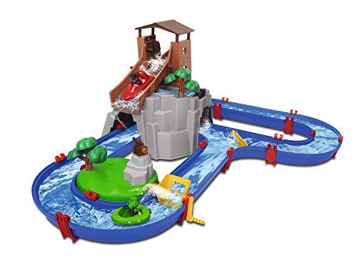 AquaPlay - AdventureLand - Wasserbahn mit Berg, Turm und Stausee, Spieleset inkl. 2 Tierfiguren, Motorboot und Speedboot, für Kinder ab 3 Jahren