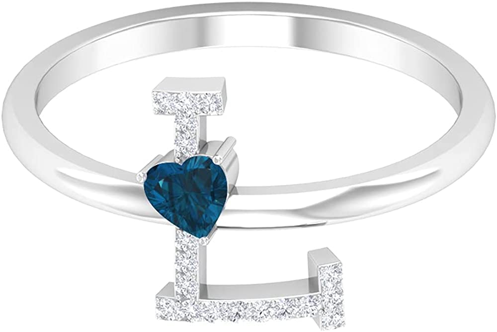 December Birthstone- 1/4 CT Heart Shape London Blue Topaz and Diamond Initial L Ring, 14K Solid Gold