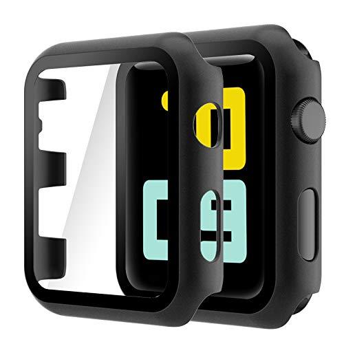 Hianjoo Cover [2-Pack] Compatibile per Apple Watch 42mm Pellicola Proteggi Schermo, Custodia con Vetro Temperato per Compatibile con Apple iWatch 42mm Series 3/2/1 - Nero