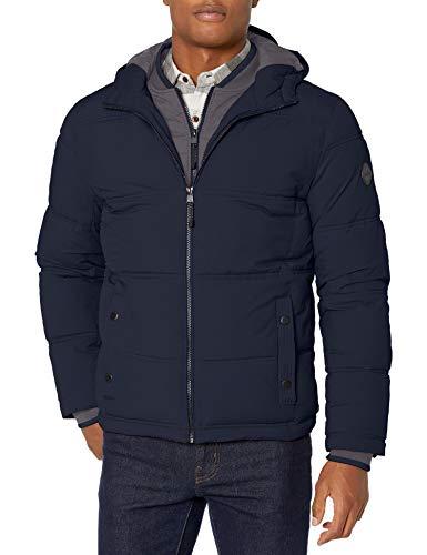 LONDON FOG Men's Chazy Hooded Bibby Jacket with Polyfill Insulation, Midnight Blue, Medium