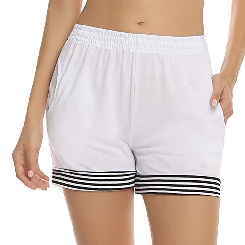 Abollria Damskie szorty na lato, krótkie spodnie ze streczu, spodnie do spania, lekkie, przewiewne szorty z kieszenią i paskami, do spędzania wolnego czasu w domu
