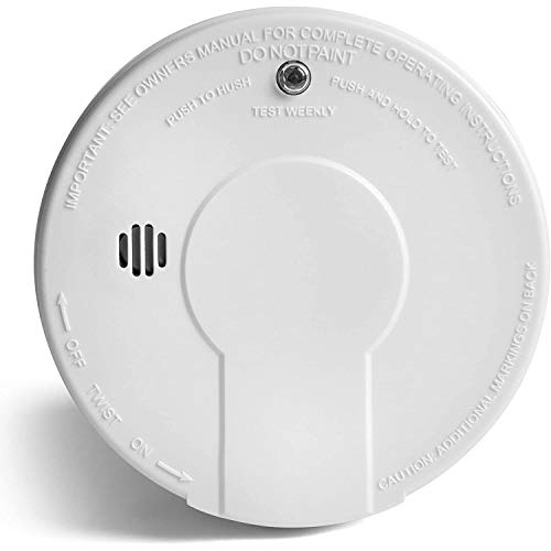 White, smoke detector alarm, battery operated
