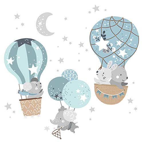 Little Deco Wandaufkleber Mädchenzimmer Tiere im Heißluftballon I Wandbild 91 x 62 cm (BxH) I Elefant Maus Hasen Sterne Ballon Babyzimmer Kinder Wandtattoo DL513-1
