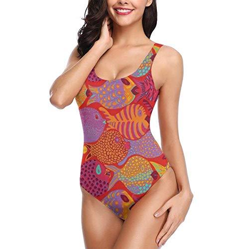 ames Bikini, Freespirit Red Goldfish, Einteiliger Badeanzug mit Badedruck und Badeanzug XL