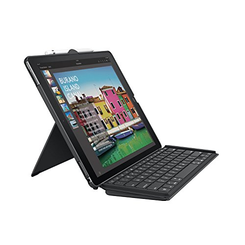 Logitech iPad Pro 12.9 inch Keyboard Case | SLIM COMBO with Detachable, Backlit, Wireless Keyboard and Smart Connector (Black) For 1st and 2nd generation