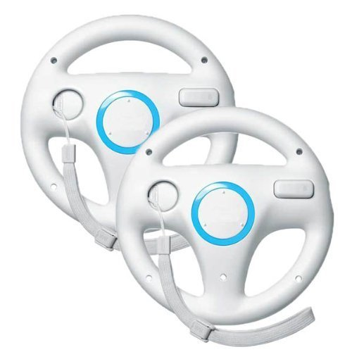 icase4u® 2 X Generic Wii controller White Steering Mario Kart Racing Wheel for Nintendo Wii Remote Game (white) …