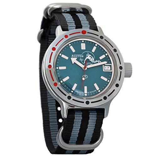 Vostok Amphibian Automatik-Herren-Armbanduhr mit automatischem Aufzug, Militär Taucher Amphibia Gehäuse Armbanduhr #420059 grau