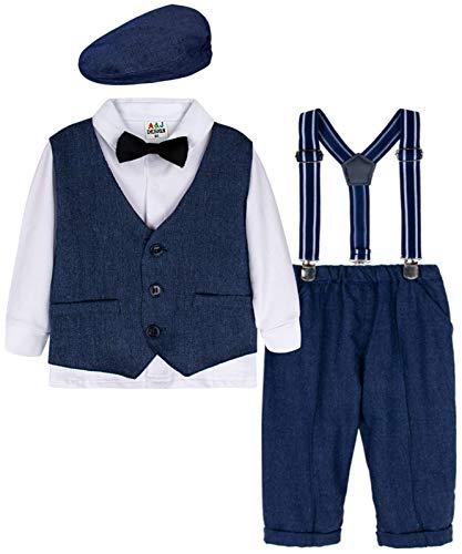 mintgreen Säugling Baby Herrenanzug Set Hochzeits Smoking mit Baskenmütze, Königsblau, 1-2 Jahre (Herstellergröße : 90)