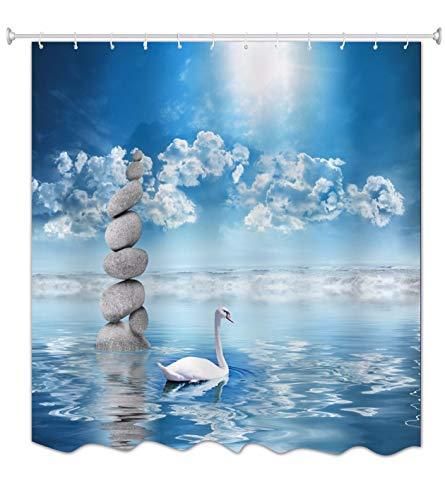 A.Monamour Weißer Schwan Schwimmen Im Wasser Steine ??Felsen Blauer Himmel Zen Yoga Meditation Dekor Wasserdicht Mehltau Resistent Stoff Duschvorhang Für Bad Zubehör 180X200 cm / 72