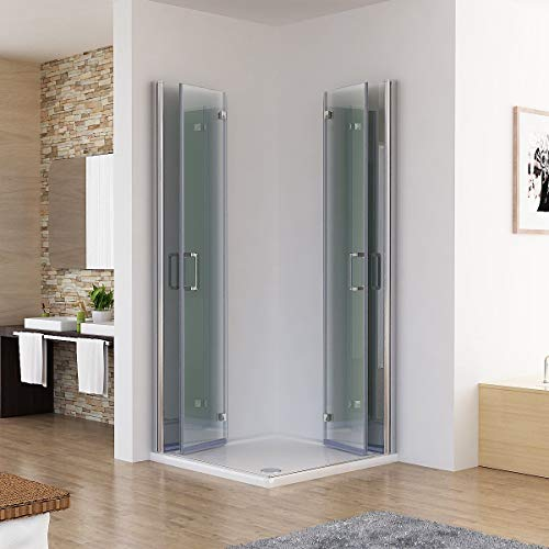 MIQU Duschkabine 80x80x185cm Eckeinstieg Dusche Falttür 180º Duschwand Duschabtrennung 6mm Nano Glas DBP