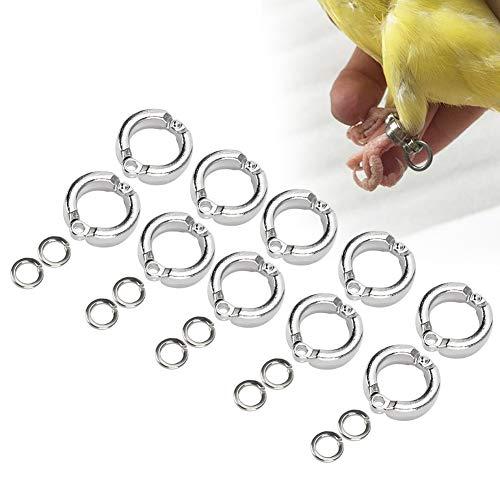 Cikonielf 10 Stks Vogel Voetringen Metalen Papegaai Been Ring Outdoor Fly Training Activiteit Opening Clip Accessoires…