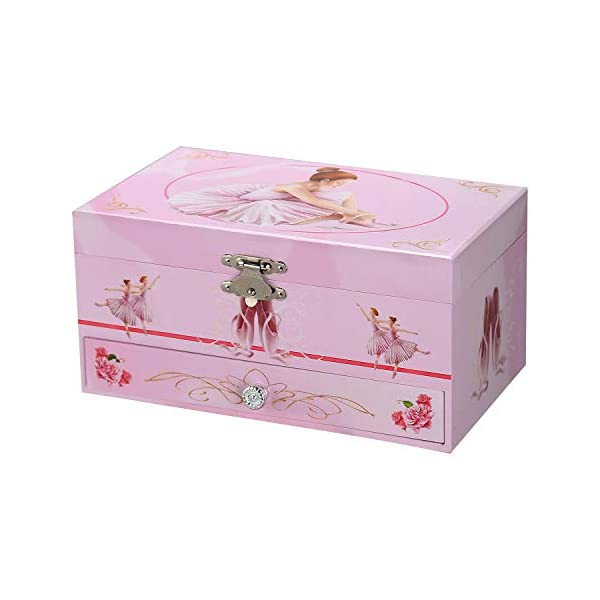 TAOPU Sweet Musical Jewelry Box with Pullout Drawer and Dancing Ballerina Girl Figurines Music Box Jewel Storage Case… 6
